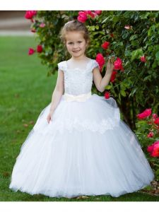Girls White Lace Applique Bow Tulle Whitney Flower Girl Ball Dress 4-12