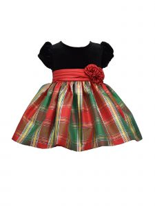 Bonnie Jean Baby Girls Red Stretch Velvet Top Plaid Skirt Christmas Dress 3M