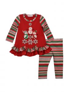 Bonnie Jean Baby Girls Red Snowmen Tree Legging Christmas Outfit 3-24M