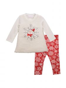 Bonnie Jean Baby Girls Ivory Snowman Applique Legging Christmas Outfit 3-24M