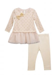 Bonnie Jean Little Girls Gold Jacquard Mesh Legging Christmas Outfit 2-4T