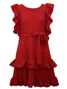 Bonnie Jean Little Girls Red Sparkle Self Sash Ruffled Christmas Dress 4-6X