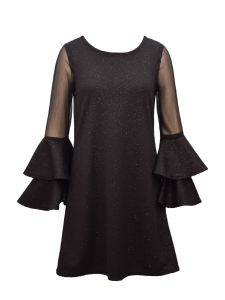 Bonnie Jean Big Girls Black Sparkle Double Bell Sleeve Christmas Dress 7-16