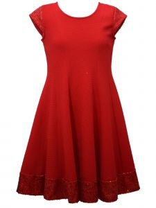 Bonnie Jean Big Girls Red Sequin Trimmed Sleeve Hem Band Christmas Dress 7-16