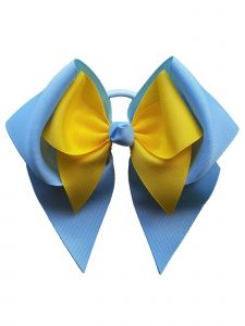 Promarx Girls Blue Yellow Extra Large Mini Bow Stylish Ponytail Holder