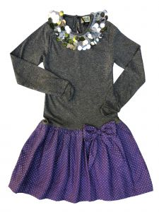 Sophie Catalou Big Girls Gray Purple Sequin Long Sleeve Amy Dress 8-12