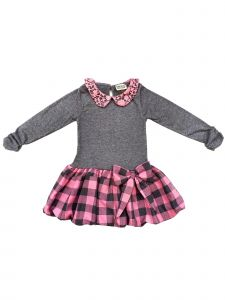 Sophie Catalou Little Girls Gray Blush Plaid Skirt Emily Dress 2-6