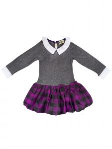 Sophie Catalou Big Girls Gray Violet Plaid Skirt Emily Dress 8-12