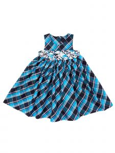 Sophie Catalou Little Girls Teal Plaid Embroidered Waist Dress 2-6