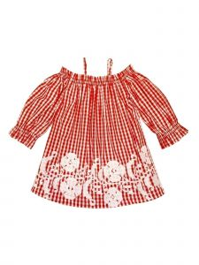 Sophie Catalou Little Girls Red White Gingham Embroidered Kara Dress 3-6