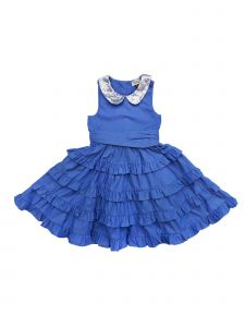 Sophie Catalou Little Girls Blue Sequin Adorned Peter Pan Collar Party Dress 5