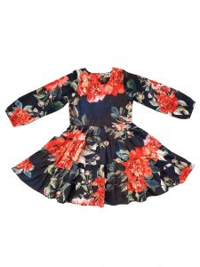 Sophie Catalou Little Girls Navy Tiered Ruffle Skirt Selena Dress 2-6