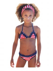 Big Girls Red White Stripe In The Navy Triangle Bikini 2 Pc Swimsuit 7-14