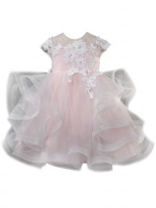 Baby Girls Blush 3D Floral Lace Puffy Tulle Layers Flower Girl Dress 3-24M