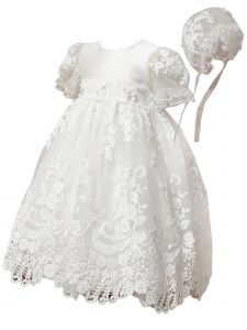 Baby Girls Off White Satin Tulle Pearl Lace Appliques Christening Gown 3-24M