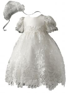 Baby Girls Pure White Satin Tulle Pearl Lace Appliques Christening Gown 3-18M