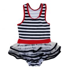 Wenchoice Little Girls Navy White Stripe Skirted One Piece Swimsuit 2T-7