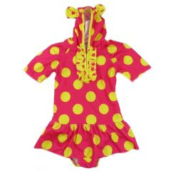 Wenchoice Little Girls Red Yellow Polka Dot Print Sleeve Cap Swimsuit 2T-7