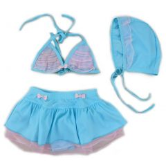 Wenchoice Little Girls Blue Pink Lace Trim Cap 3 Pc Swimming Set 2T-7