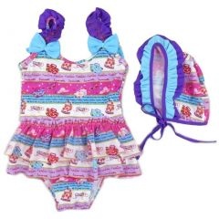 Wenchoice Little Girls Purple Blue Fashion Print Ruffle Cap Swimsuit 2T-7