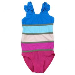 Wenchoice Little Girls Multi Color Rainbow Stripe One Piece Swimsuit 2T-7