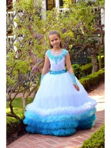 Big Girls Blue Multi Triple Row Fluffy Trim Yasmin Flower Girl Dress 8/10