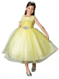 Girls Multi Color Pleated Flared Top Rhinestone Flower Girl Easter Dress 2-16