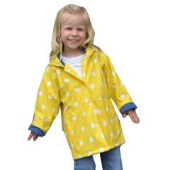 Foxfire Big Girls Yellow White Polka Dotted Print Trendy Raincoat 8-10