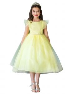Girls Multi Color Ruffled Sleeves Rhinestone Flower Girl Dress 2-16