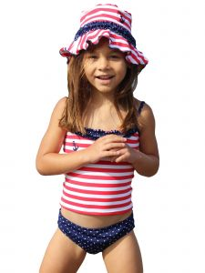 Little Girls Red White Stripe In The Navy 2 Pc Ruffle Tankini Swimsuit 4-6