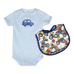 Raindrops Baby Boys Blue Car Body Suit Bear Bib Set 0-24M