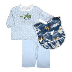 Raindrops Baby Boys Blue Bulldozer Long Sleeve Top Pant Animal Bib Set 18-24M