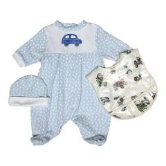 Raindrops Baby Boys Blue Car Footie Cap Bib Set 0-9M