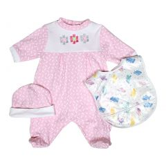 Raindrops Baby Girls Pink Floral Footie Cap Bib Set 0-9M