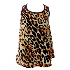 Girls Black Brown Leopard Pattern Bow Adorned Back Strap Sleeveless Top 6-16