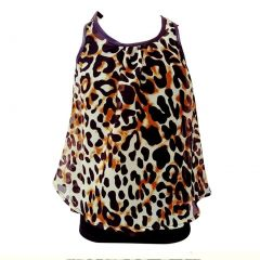 Girls Black Tan Leopard Print Bow Accented Back Sleeveless Top 6-16
