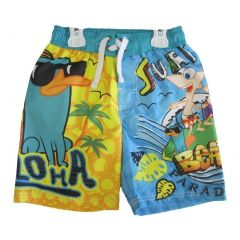 Phineas and Ferb Little Boys Yellow Sky Blue Printed Swim Wear Shorts 4T-7
