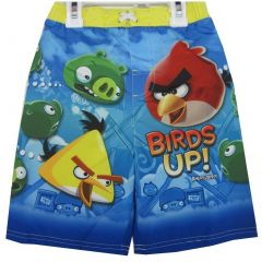 Angry Birds Little Boys Sky Blue Character Printed Swim Wear Shorts 2T-6