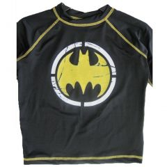 Batman Big Boys Black Stretchy Printed Swim Wear T-Shirt 8-10