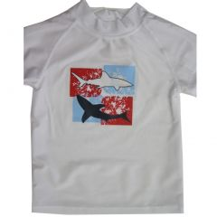 Sun Kids Tm. Little Boys White Fish Print Swim Wear T-Shirt 4T-7
