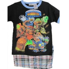 Skylanders Giants Little Boys Black Animated Print Plaid 2 Pc Shorts Set 4-7