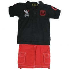 College Boys Apparel Little Boys Red Black Polo Shirt 2 Pc Cargo Shorts 4-7