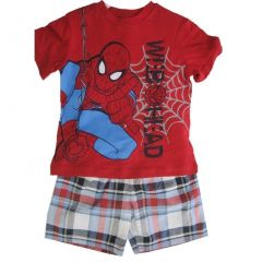Marvel Little Boys Red Grey Spiderman Web Head Plaid 2 Pc Shorts Set 2T-4T