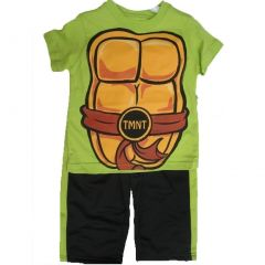 Nickelodeon Little Boys Lime Green Ninja Turtles Sign Print 2 Pc Pants Set 2T-4T