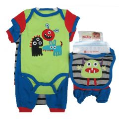 Nuby Boy Baby Boys Blue Funny Images Print Bodysuit Bib Booties Pants Set 0-9M