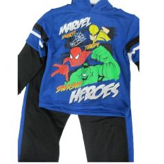 Marvel Little Boys Royal Blue Black Superheroes Printed 2 Pc Pants Set 4-7