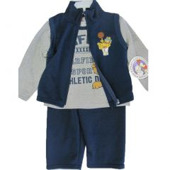 Garfield Little Boys Gray Blue Character Printed Sweater Tee 3 Pc Pants Set 2-4T