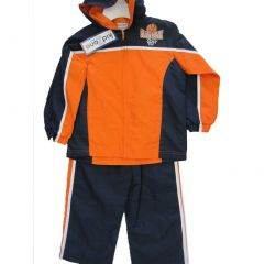 Kid Zone Little Boys Orange Black Panel Zipper Hooded Jacket 2 Pc Pants Set 4-7