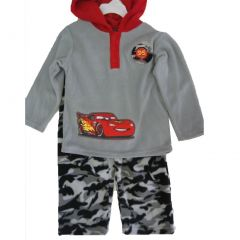 Cars Little Boys Gray Red Lighting McQueen Print Hooded Camo 2 Pc Pants Set 2-4T