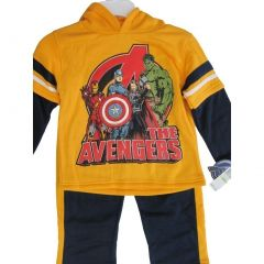 Marvel Little Boys Yellow The Avengers Super hero Print 2 Pc Pants Set 4-7